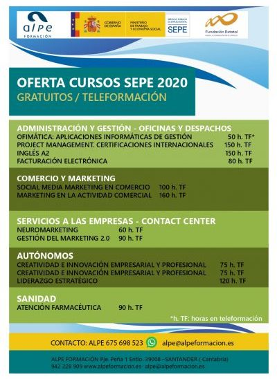 Cursos gratuitos sepe 2020 modalidad online-www.alpeformacion.es